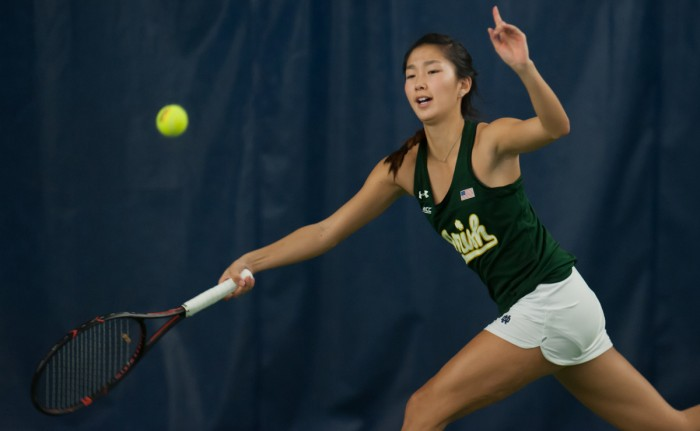Irish junior Rachel Chong stretches to return the ball during Notre Dame's 5-2 victory over Purdue on Feb. 22 at Eck Tennis Pavilion. Chong went undefeated during play in her last event, the Wildcat Invitational. She went 17-8 overall last year with a 7-4 record in ACC play.