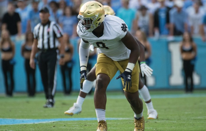 Irish sophomore defensive lineman Daelin Hayes lines up before the snap during Notre Dame's 33-10 victory over North Carolina on Oct. 7 at Kenan Memorial Stadium in Chapel Hill, North Carolina.