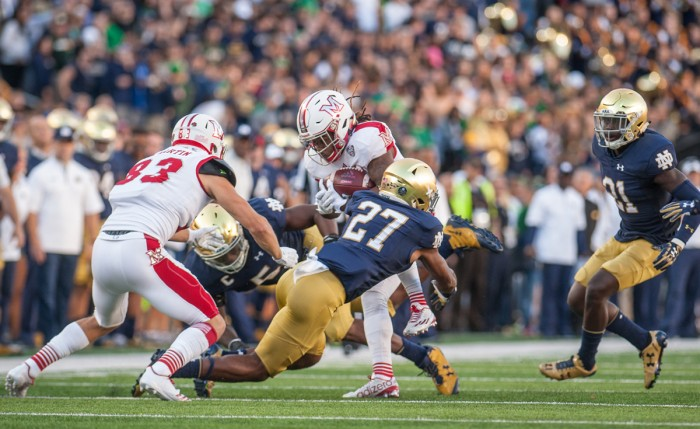 Irish sophomore cornerback Julian Love makes a tackle during Notre Dame's 52-17 victory over Miami (OH) on Sept. 30. Love has 27 tackles and one interception on the year.
