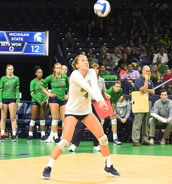 Irish junior Ryann DeJarld prepares to hit the ball during Notre Dame's 3-0 win over Michigan State on Sept. 15 at Purcell Pavilion. DeJarld now has 1,547 career digs, third all-time in program history.
