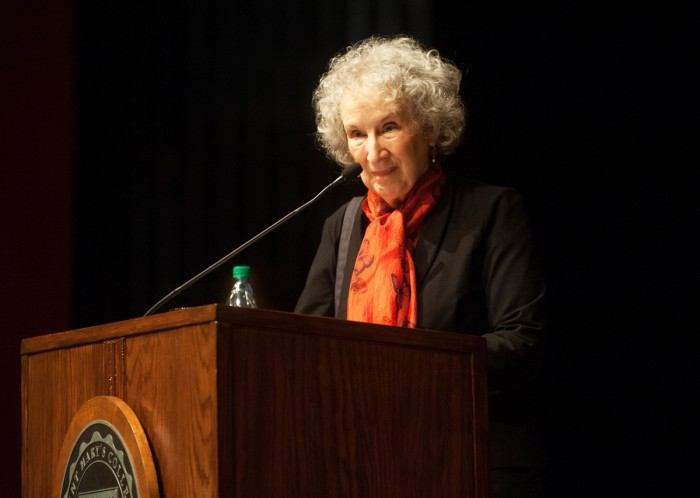 "Margaret Atwood, author of ""The Handmaid's Tale"", listens to an audience question during the annual Christian Culture Lecture at Saint Mary's. Atwood discussed the relevance of her novel, which depicts a world in which women are severely oppressed."
